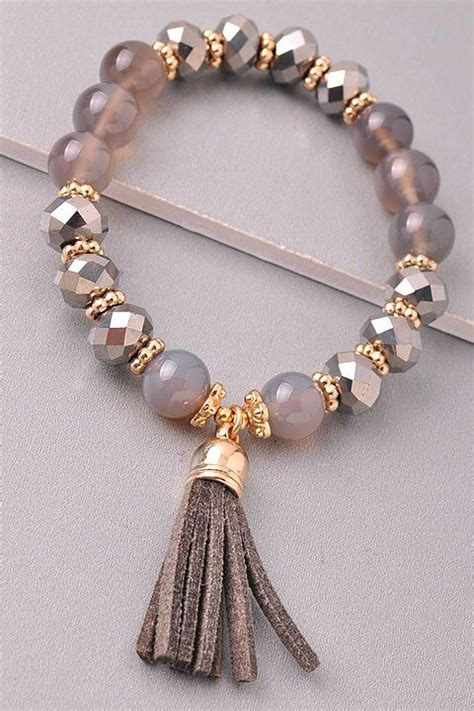 Handmade Bracelets With Names - the tassel bracelet gray products