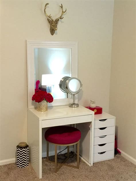 Small Makeup Vanity Desk Makeup Vanity Ikea Micke Desk Target Threshold Pink Ottoman Home Pinterest Ottomans