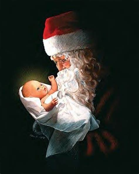 adoring santa st nick with baby jesus christmas pinterest