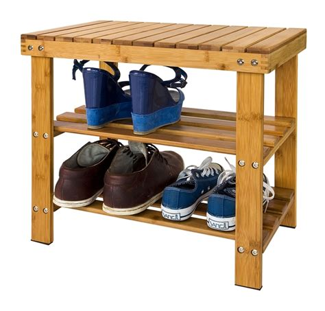 Bathroom Shoo Rack by Sobuy 174 Bamboo Shoe Rack With Seat On Top Bathroom Shelf