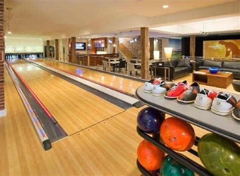 open room in home bowling alley in home bowling alleys