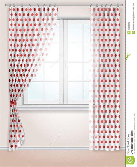 red polka dot kitchen curtains polka dots curtains stock vector image 47063862
