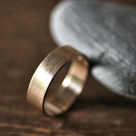 Gold Men's Wedding Band, 6mm Wide Brushed Flat 14k
