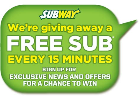 Sweepstakes Text To Win - subway text to win sweepstakes 96 winners daily