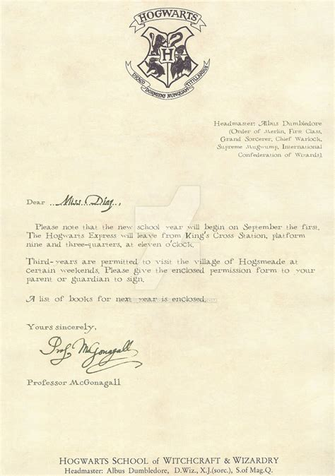Demand Letter 3rd Year Hogwarts Letter Third Year 1 2 By Desiredwings On Deviantart
