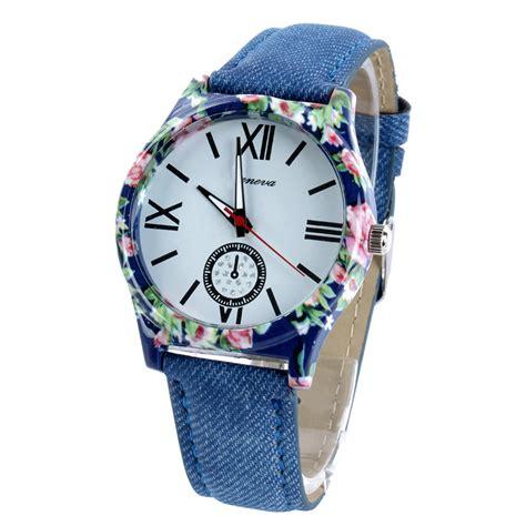 womens denim cloth bracelet wrist watches unisex