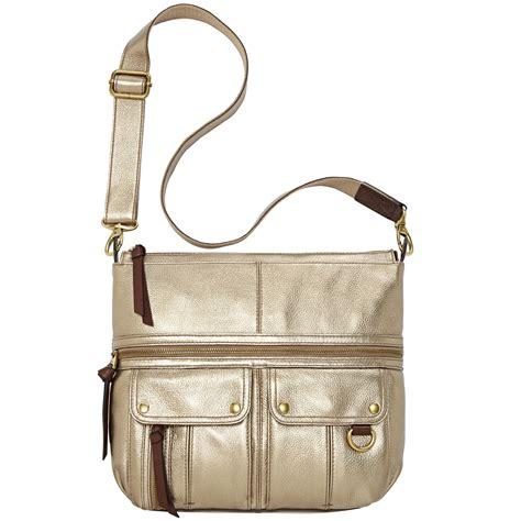 Fossil Crossbody Model 705b fossil leather top zip crossbody in metallic lyst