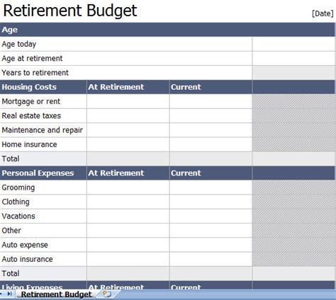 retirement excel template retirement planning spreadsheet template retirement