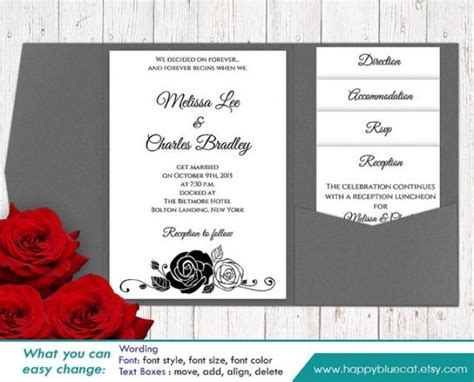 pocket wedding invitation templates diy printable pocket wedding invitation template set