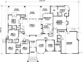 5 bedroom house floor plans one story five bedroom home plans home plans homepw72132