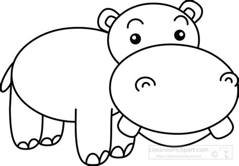 Hippo White hippo clipart black and white pencil and in color hippo
