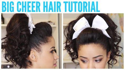 how to do a cheer puffy ponytail hairstyle cheerleader long hair big cheer hair tutorial