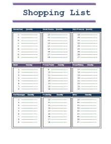 Shopping list template free business templates