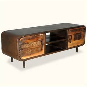 vintage tv stands reclaimed wood iron 1950 s retro media console cabinet