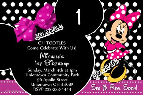 pageplus minimouse greeting card template minnie mouse bow birthday invitations all colors
