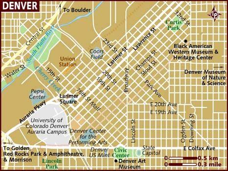 denver in usa map map of denver