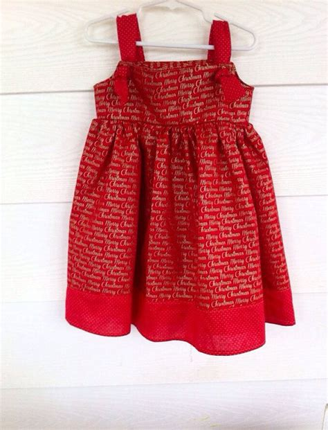 Red gold merry christmas knot dress for toddlers girls sizes 12 18 m