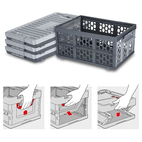 in collapsible storage box 28l collapsible plastic storage container box basket with
