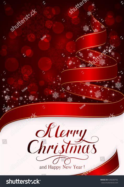 happy holiday tree ribbon background snowflakes tree ribbon stock illustration 535030792