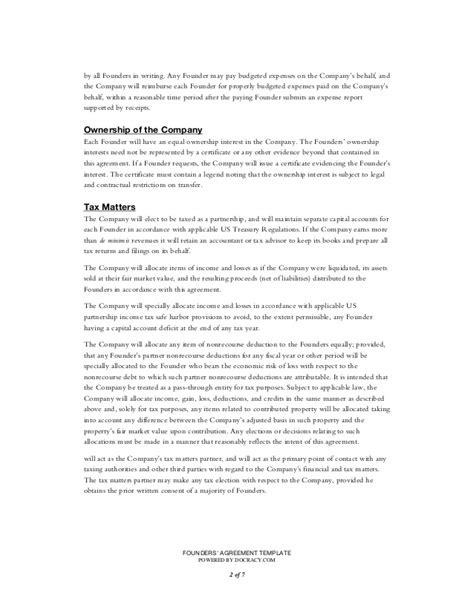Startup Founders Agreement Template Co Founder Agreement Startup Template