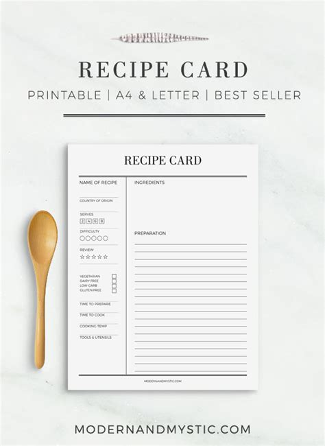 Page Recipe Card Template by Recipe Card Printable Recipe Cards Recipe Sheet Printable