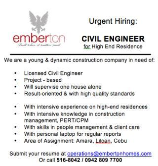 design engineer hiring cebu civil engineer for high end residence wanted looking