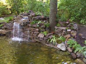 Small Garden Waterfall Ideas Backyard Garden House Design With Ponds And Waterfall Plus Various Trees Ideas