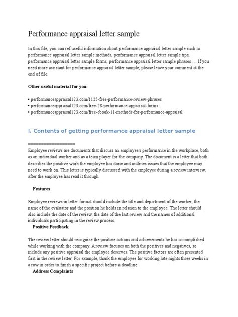 Sle Of Evaluation Letter For An Employee performance appraisal grievance letter sle docoments