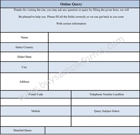 online query form online enquiry form template