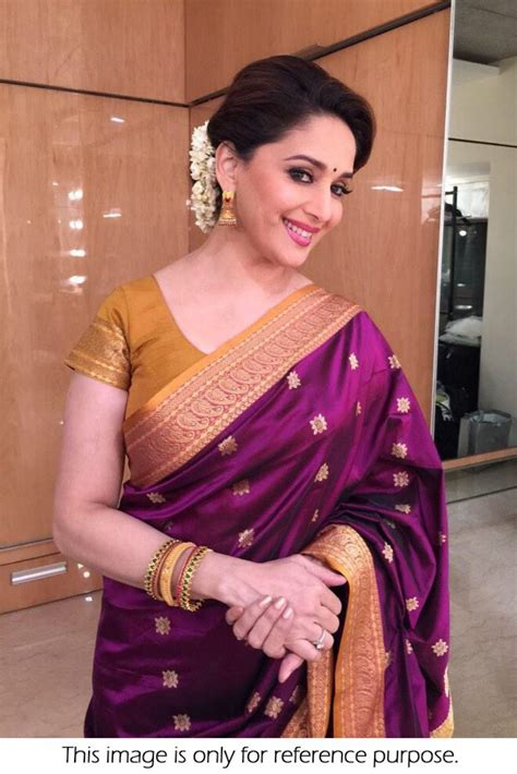 actresses of color style madhuri dixit silk georgette saree in