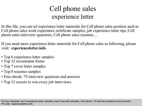 Cover Letter For Mobile Phone Sales by Cell Phone Sales Experience Letter