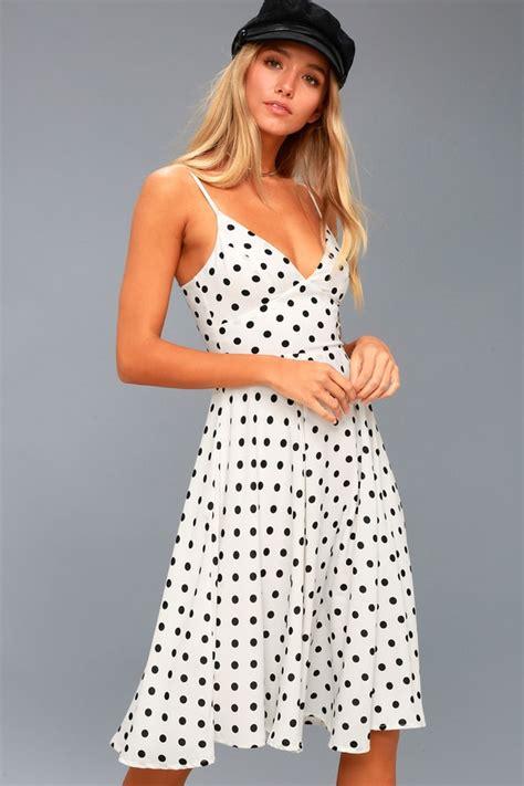 Spaghetti Dot Midi Dress chic white dress midi dress black polka dot dress