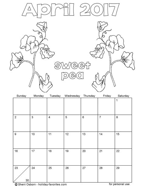 printable calendar coloring pages 2017 printable april 2017 calendars holiday favorites