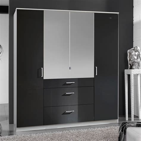 Black Gloss Mirror Wardrobe by Alton Mirror Wardrobe In Gloss Black Alpine White With 4