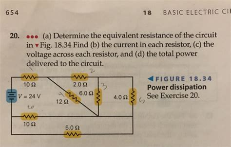 find the current and voltage across each resistor determine the equivalent resistance of the circuit chegg
