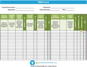 free fmea template failure modes effects analysis fmea template exle