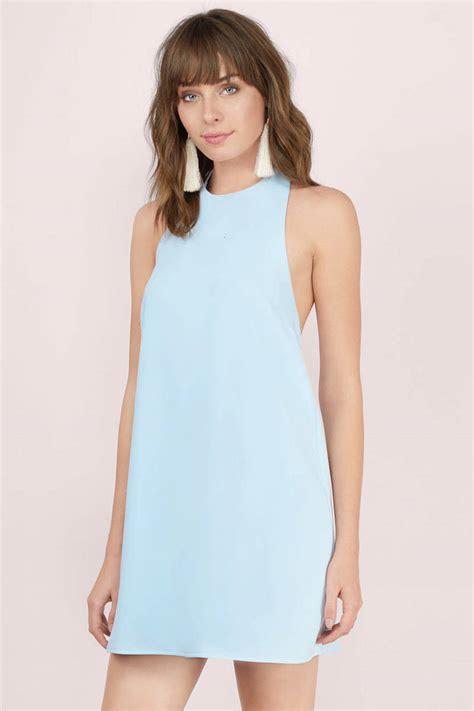 Light Blue Shift Dress Backless Dress Light Blue Dress