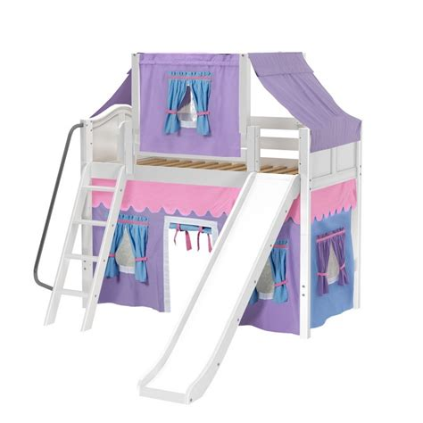 twin loft bed curtains maxtrixkids sweet27 wc mid loft panel bed with angle