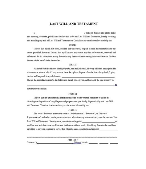 template for writing a will last will and testament sles and templates