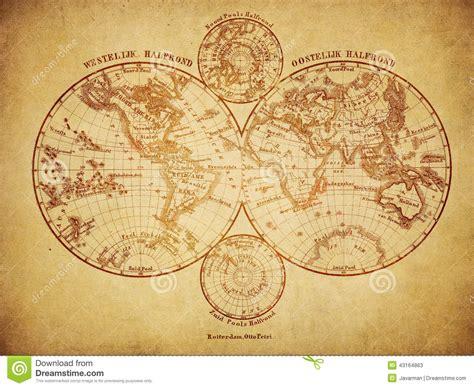 vintage map   world  stock illustration image