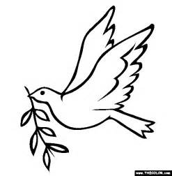 printable coloring page of a dove download