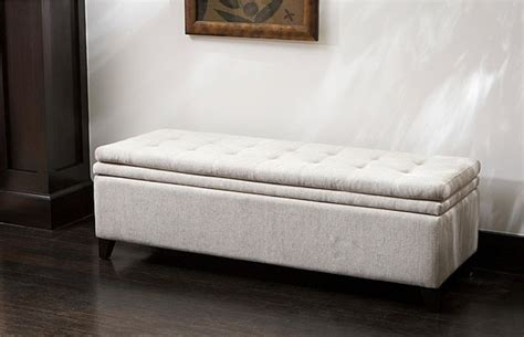 White Bedroom Storage Bench Brighton White Linen Storage Ottoman Contemporary