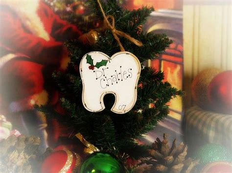dental themed christmas tree personalized tooth ornament dentist orthodontist gift name o tree o