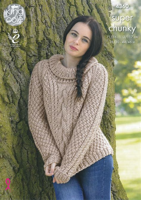 knitting pattern womens jumper ladies super chunky knitting pattern king cole cable knit