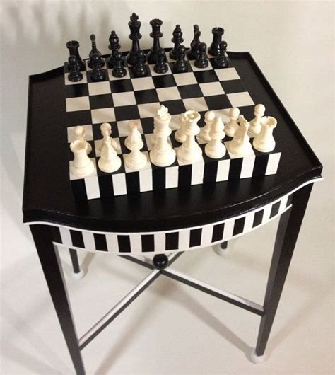 painted vintage chess table removable board with