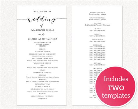 Wedding Programs 183 Wedding Templates And Printables Wedding Reception Program Template 2