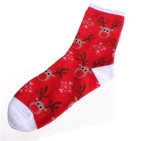 pattern long socks women ladies christmas santa clause reindeer pattern long
