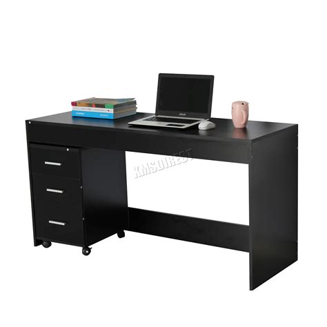 computer desk pc table foxhunter computer desk pc table with 3 drawers home