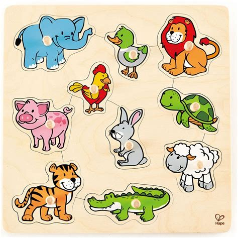 Mainan Angka Hape Number Puzzle friendly animals 10 pc knob wooden puzzle educational toys planet