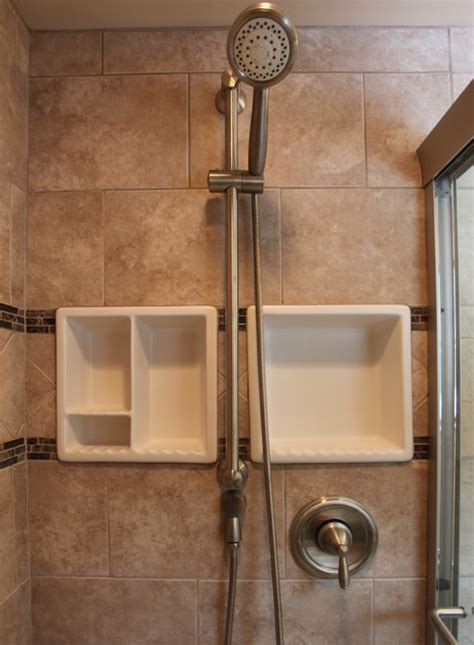 Bathroom Shower Shelving Small Bathroom Ideas Traditional Bathroom Dc Metro By Bathroom Tile Shower Shelves